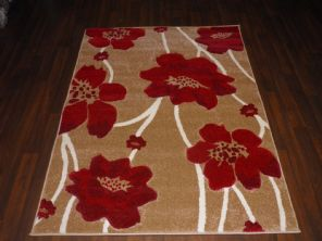 BARGAIN RANGE WOVEN RUGS HAND CARVED APROX 6X4FT 120X170CM BEIGE/RED GREAT RUGS